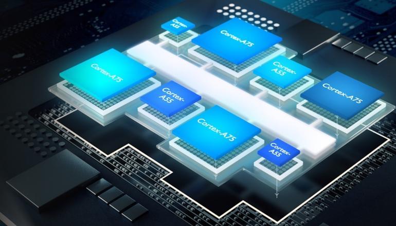 Прототип восьмиядерного процессора с архитектурой big.LITTLE с четырьмя ядрами Cortex-A75 и Cortex-A55 // arm.com